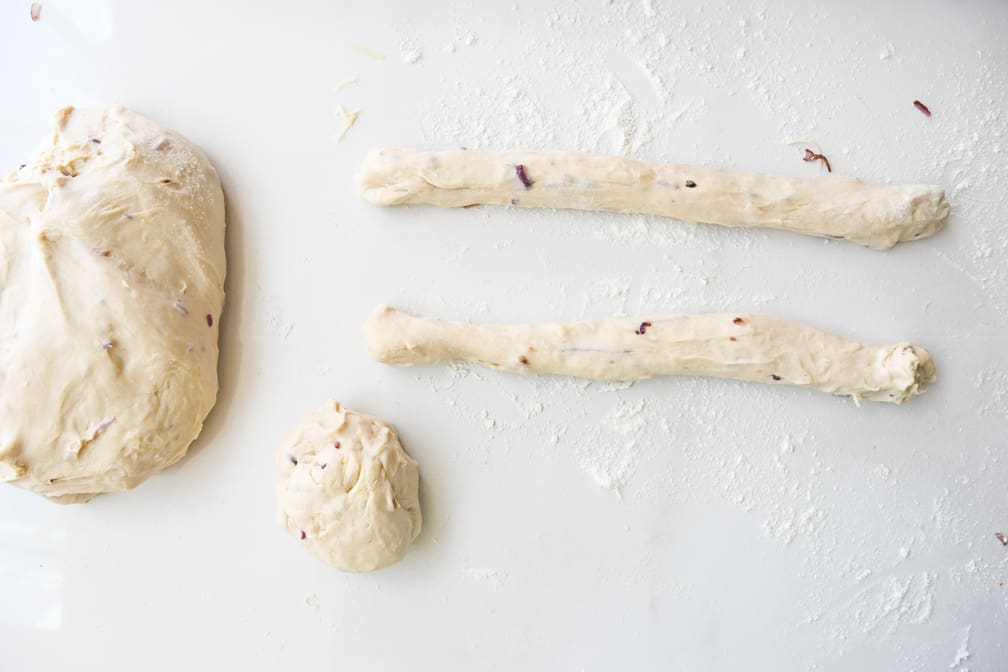 Cheddar and Red Onion Breadsticks recipe