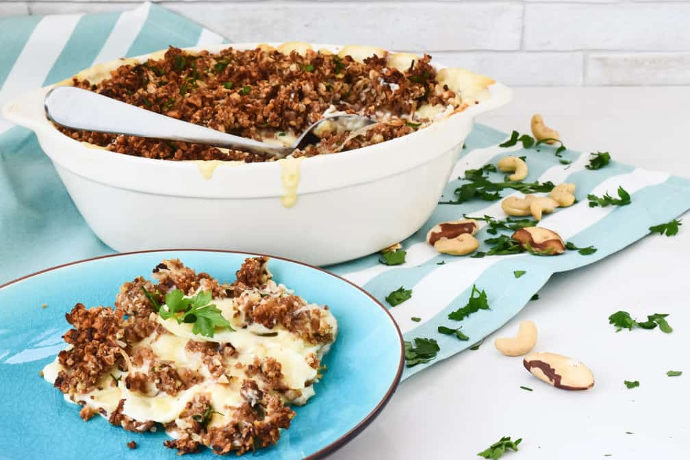 creamy nut roast potato bake recipe