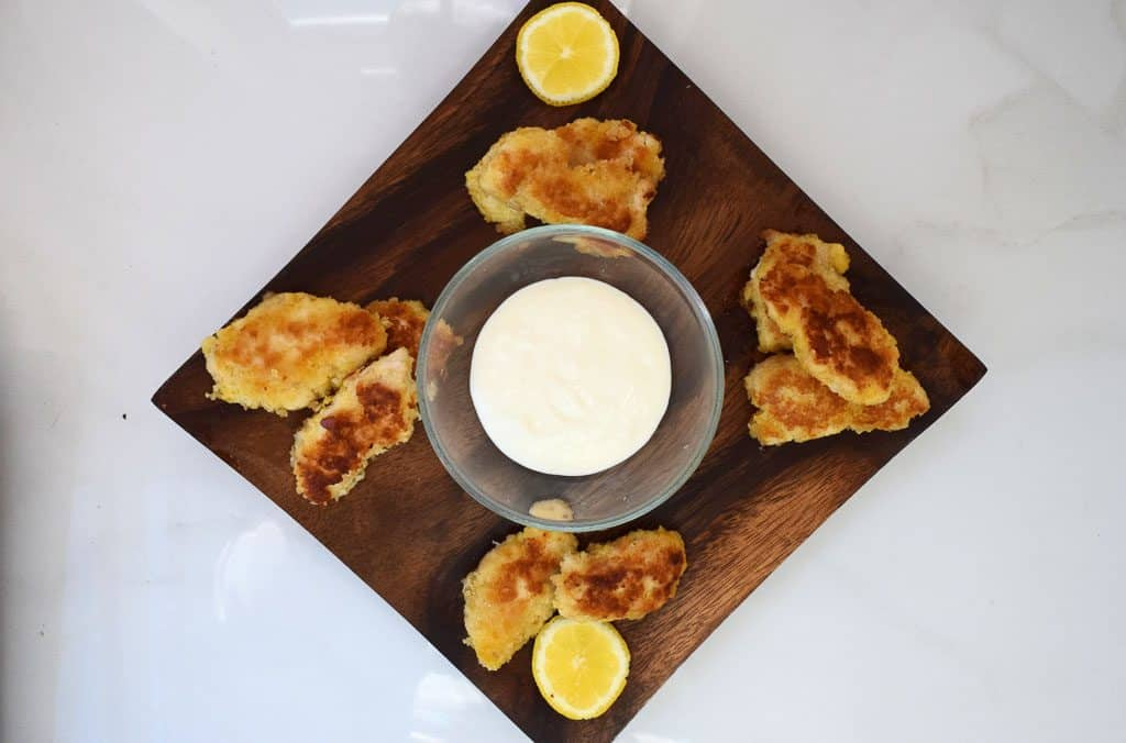 Crispy Lemon Chicken Bites With A Lemon Mayo Dip