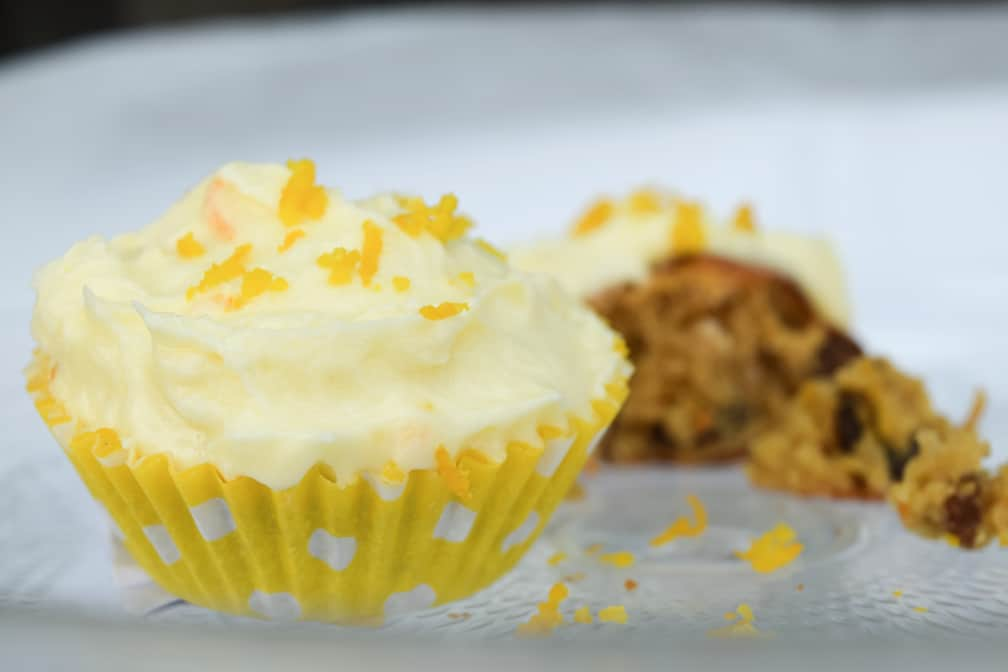 Photography carrot cupcake in a yellow cupcake case close up