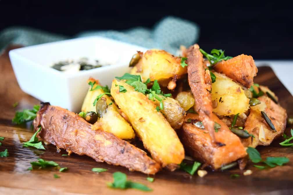 close up rustic potato wedges