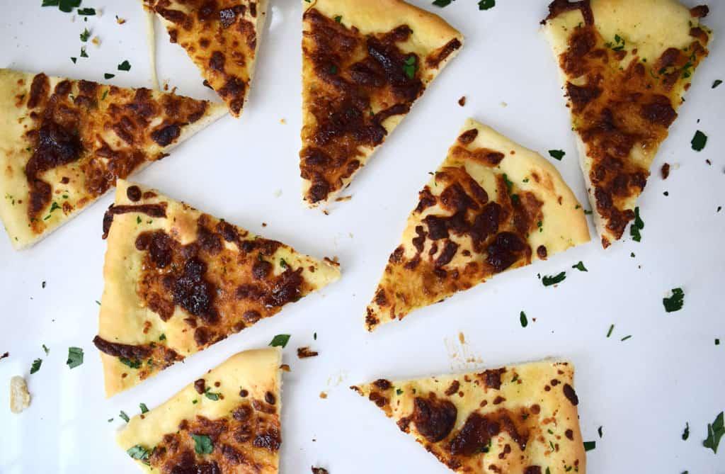 Sliced garlic pizza bread
